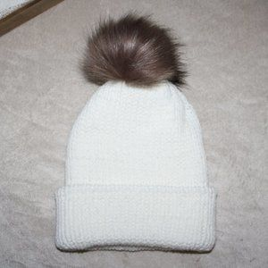 12-18 month white and brown fur knit beanie new